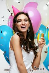 Beautiful Woman Celebrating Birthday And Having Fun