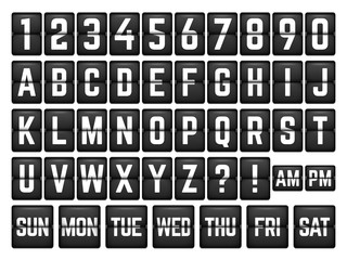 Mechanical Timetable with Alphabet and days of week. Countdown timer elements Vector set.