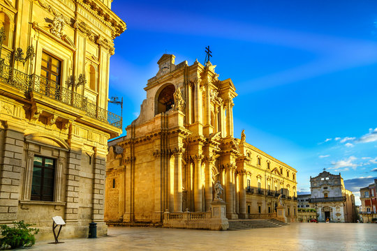 The Cathedral of Syracuse (Duomo di Siracusa). The famous church in Syracuse Sicily Italy.