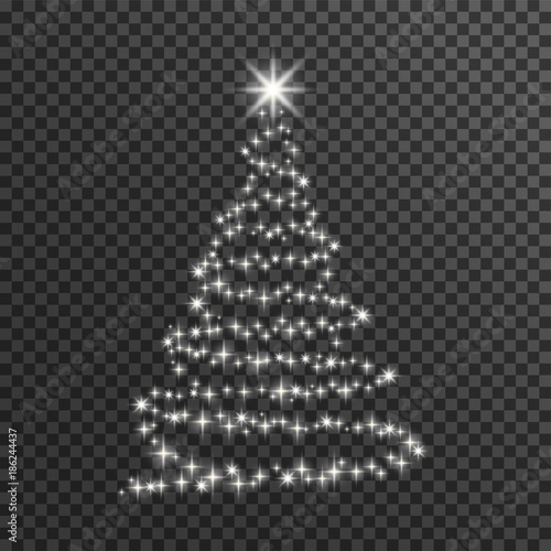Christmas Tree On Transparent Background Happy New Year Merry