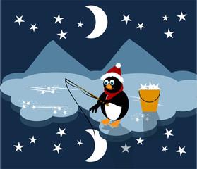 Mitten in der Nacht -Wenn der kleine Pinguin sich den Mond angelt