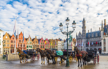 Foto op Aluminium Brugge Grote Markt square in medieval city Brugge, Belgium.