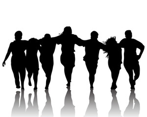 Black silhouette of dancing group on white background