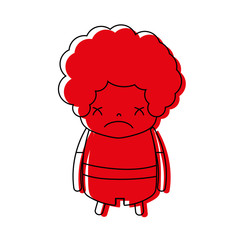 color boy with curly hair and sad face