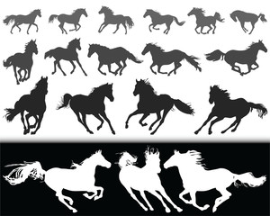 Black silhouettes of horses on a white background and  white silhouettes  on a black background