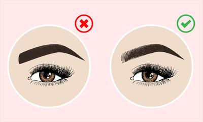 Right and wrong eyebrow coloring and eyebrows shapes. Female eyes and eyebrows vector elements. Types of eye makeup. Vector illustration on pink background.
