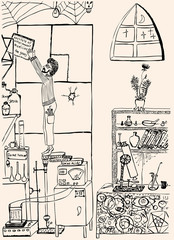 Young scientist in his experimental laboratory