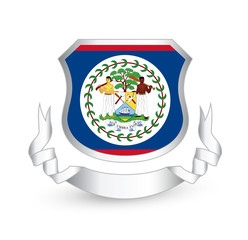 Belize flag in shield and ribbon