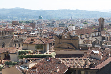 Red roofs of Florence in a sunny day, Tuscany, Italy.