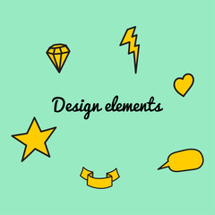 Design elements. Fashion patch badges with heart, star, lightning, tape, bubble. Cool text and other elements with stroke. Set of stickers and patches in cartoon 80s-90s comic style in vector