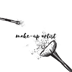 Beauty studio concept. Makeup artist fashion logo design. Lettering illustration