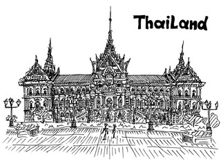 thailand royal palace sight seeing postcard in sketch style vect