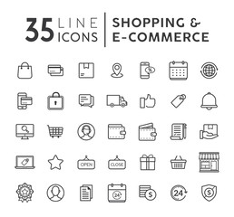 Vector set of E-commerce modern flat thin icons. Online shopping line icons set. E-commerce and shopping vector icons set. Outline web icons set. Vector illustration