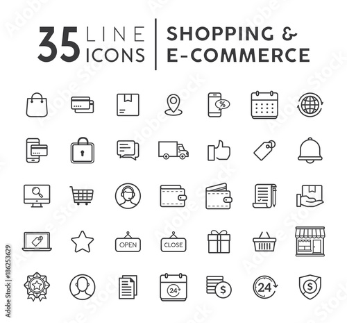 Vector set of e commerce modern flat thin icons online shopping vector set of e commerce modern flat thin icons online shopping line icons set altavistaventures Images