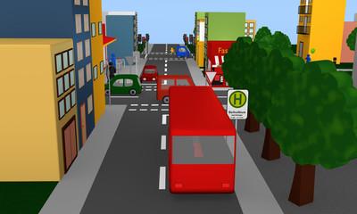 Straßenszene mit Haltestelle für einen Schulbus.