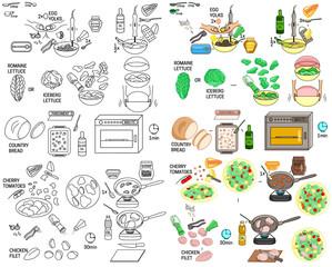 Recipe Caesar Salad DIY instruction including sketch