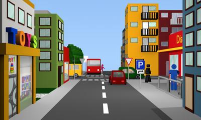 Straßenszene, mit Vorfahrt gewähren Kreuzung, Parkplatzschild, Bus, Autos und Häusern.