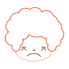 color line boy head with curly hair and sad face
