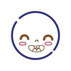 color line kawaii head with cute smile face