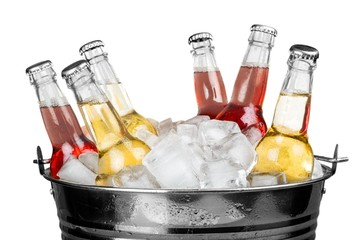 Beverage Bottles with Ice in a Bucket