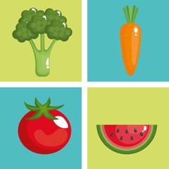 healthy food set icons