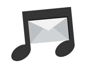 mail musical notes tone tune rhythm image vector