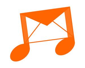 orange mail musical notes tone tune rhythm image vector