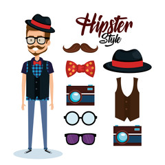hipster style avatar with accessories