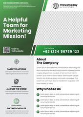 A4 Marketing Flyer template left title and left side service list style 2 in dark green color