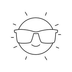 line happy and cute sun kawaii with sunglasses