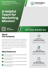 A4 Marketing Flyer template left title style 2 dark green color