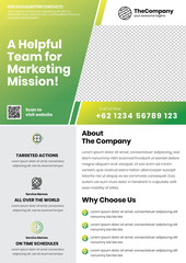 A4 Marketing Flyer template left title and left side service list style 8 in green color