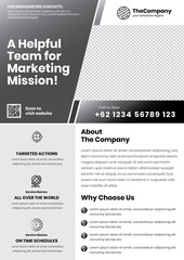 A4 Marketing Flyer template left title and left side service list style 10 in dark color