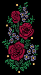 Decorative vector pattern of flowers. Red roses in a bouquet with the coal lines, or as embroidery zigzag. Floral print