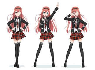Beautiful anime manga schoolgirl in skirt
