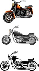 Vector set of motorbikes. isolated on white. realistic illustration, very detailed.