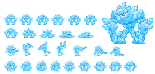 Animated Ice Golem Game Character