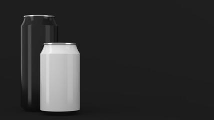 Big black and small white soda cans mockup