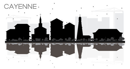Cayenne French Guiana City skyline black and white silhouette with Reflections.