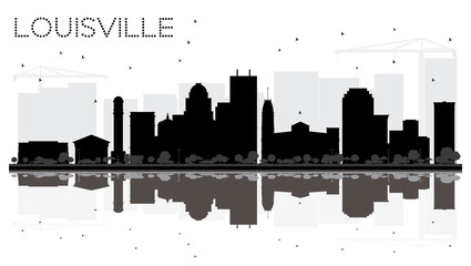 Louisville Kentucky USA City skyline black and white silhouette with Reflections.