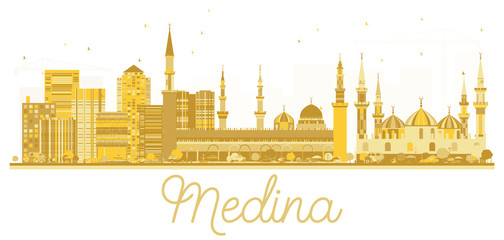 Medina Saudi Arabia City skyline golden silhouette.