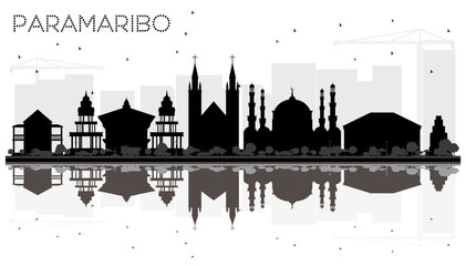 Paramaribo Suriname City skyline black and white silhouette with Reflections.