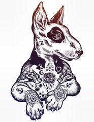 Vintage style Bull terrier in flash art tattoos.