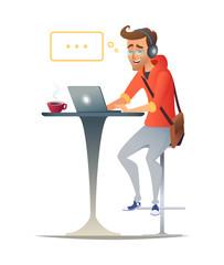 Business man or freelancer working on laptop at cafe.
