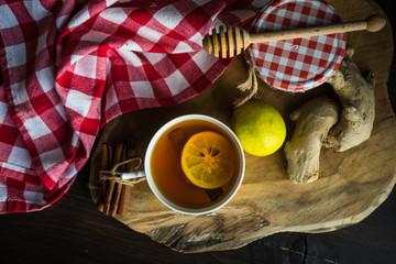 Tea with ginger and lemon