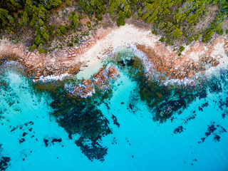 Aerial photograph over a beautiful beach in Cape Naturaliste near the towns of Dunsborough and Margaret River in the south west of Western Australia. Wall mural