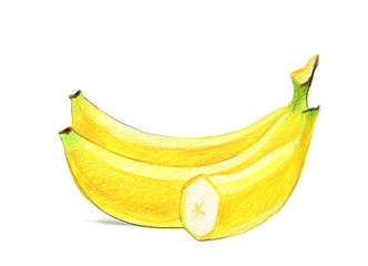 Image of a bunch of bananas. Drawing with colored pencils, isolated on white background