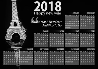 calendar 2018 happy new year with eiffel tower background