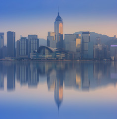 Hong Kong city skyline reflection.