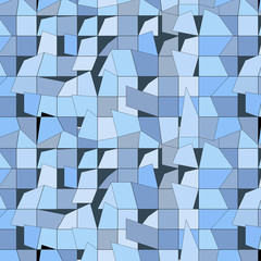 Abstract blue and gray geometrical background, seamless pattern. Slight hint of glass, no transparency.